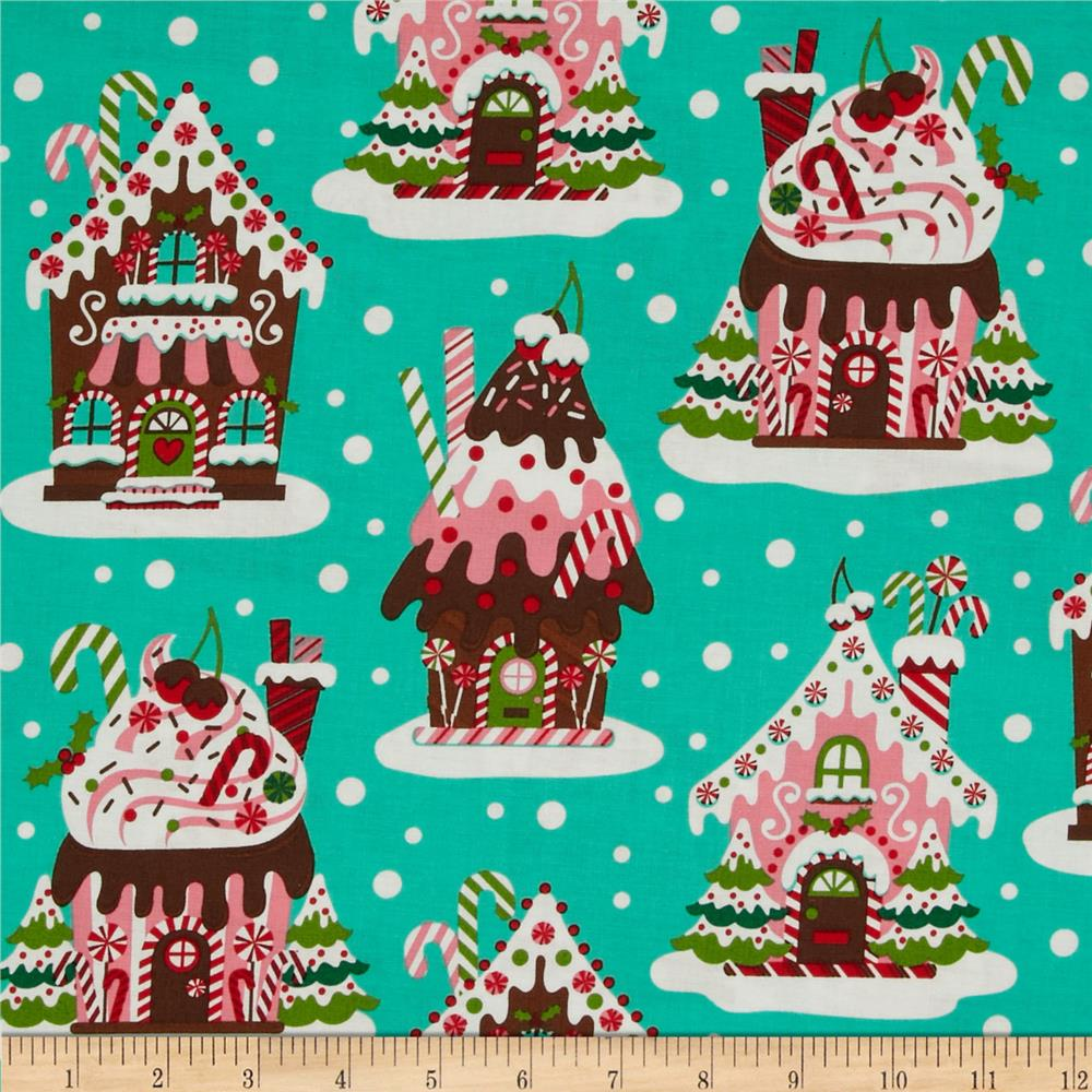 Michael Miller Holiday Gingerbread Houses Aqua Discount Designer