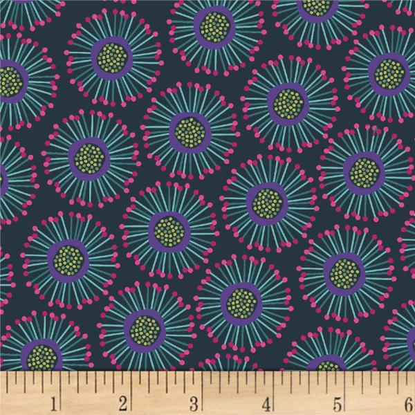 & Textiles Forest Fancies Circle Flower Teal