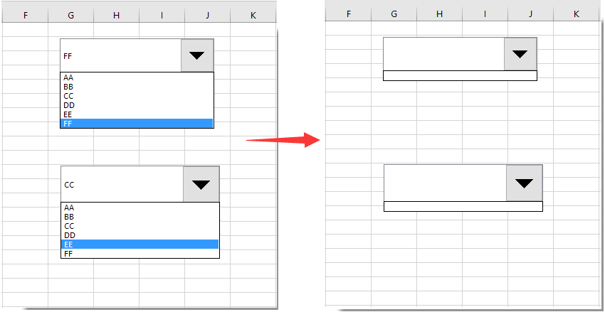 How to clear contents of combo box with VBA code in Excel?