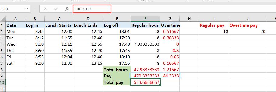 excel overtime formula