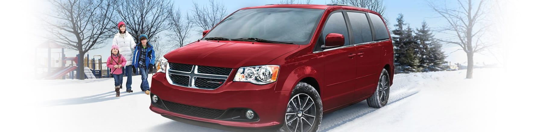 2018 Dodge Grand Caravan in winter background