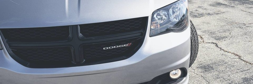 Front grille of Dodge Grand Caravan from above