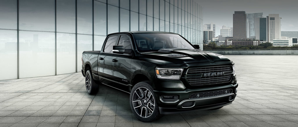 2020 Ram 1500 in black, parked in the city