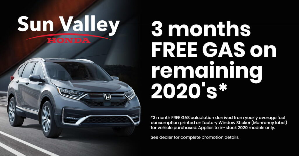 Sun Valley Honda 3 Month Free Gas Offer on 2020 Models
