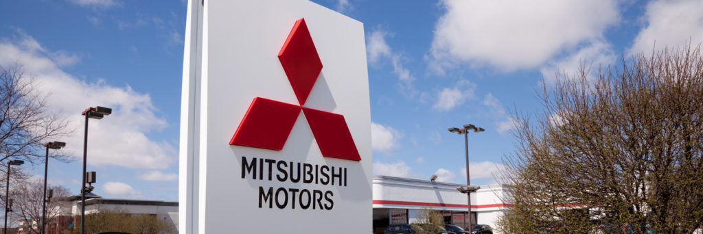 Mitsubishi dealership sign.