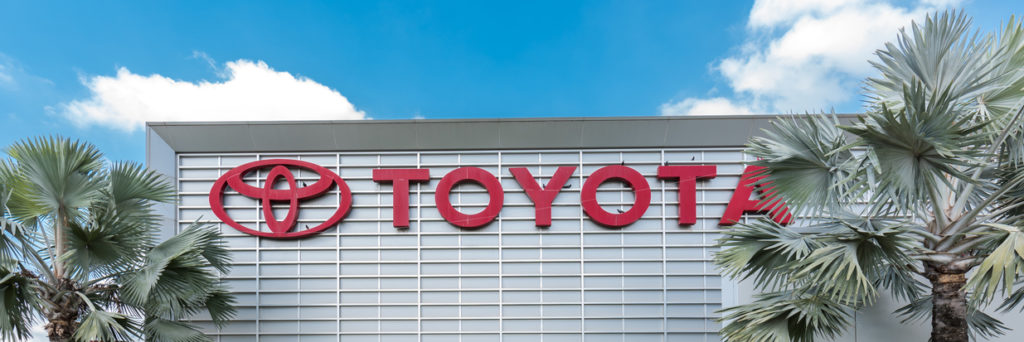 Toyota logo on assembly plant building