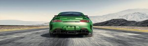 Rear View of a Green AMG GT R Coupe