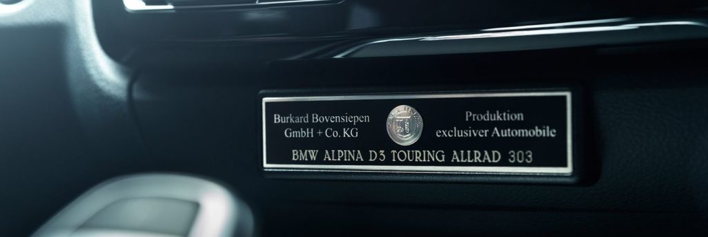 Alpina branding inside the BMW Alpina D3