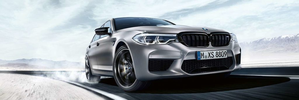 BMW M5 Competition front end side angle view