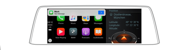 A screenshot of the AppleCarPlay system in the BMWConnect display