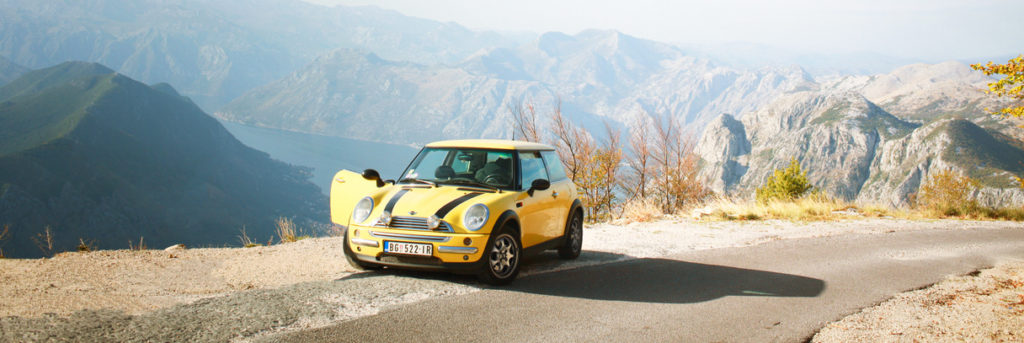 mini cooper on a roadtrip