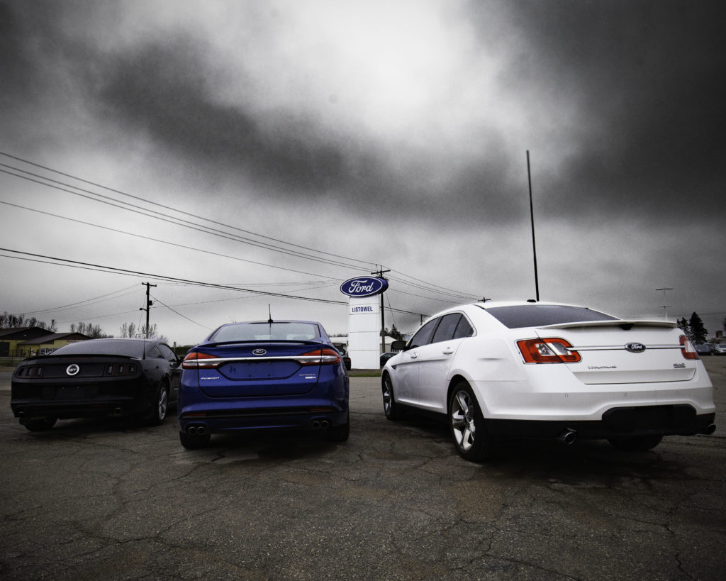 A shot of the cloudy weather at Listowel Ford and a few tips for driving safely in the rain