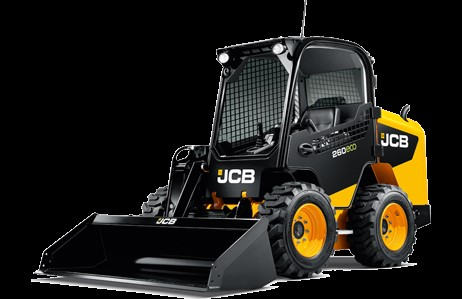 Front 3/4 view of a JCB compact track loader