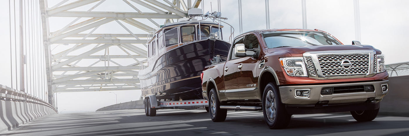 Nissan Titan towing a boat