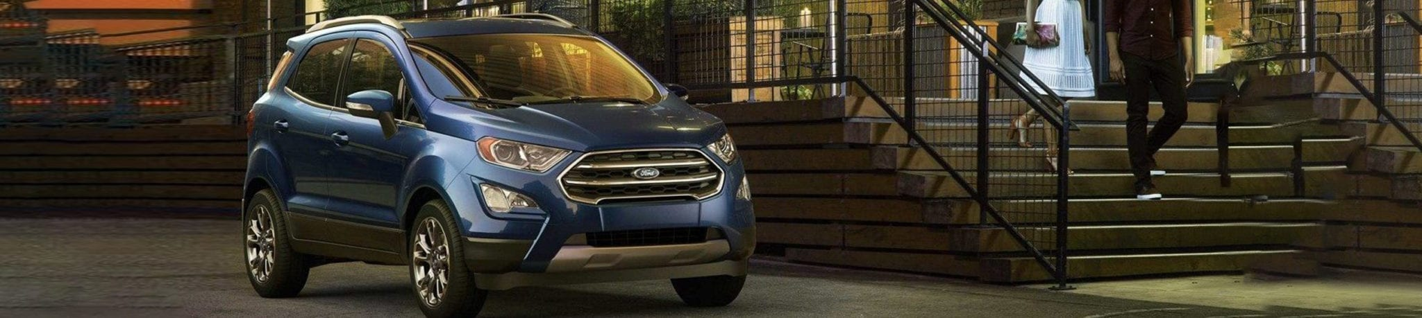 Blue Ford SUV outside