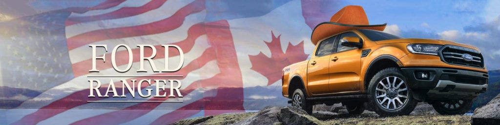 2019 Ford Ranger wearing cowboy hat superimposed over Canadian and US flags