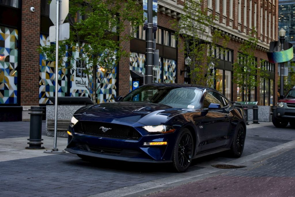 2020 Blue Mustang Parked Street