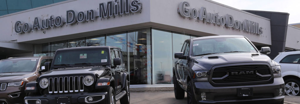 A front view of the Go Auto Don Mills Chrysler dealership