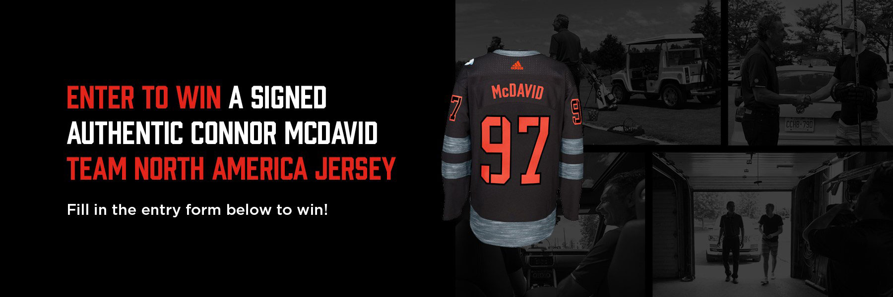 WIn a signed Connor McDavid team North America jersey contest graphic banner