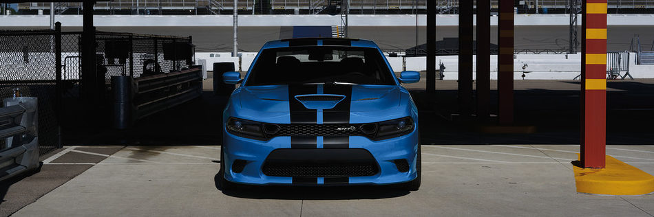 Front of Dodge Charger at a racetrack