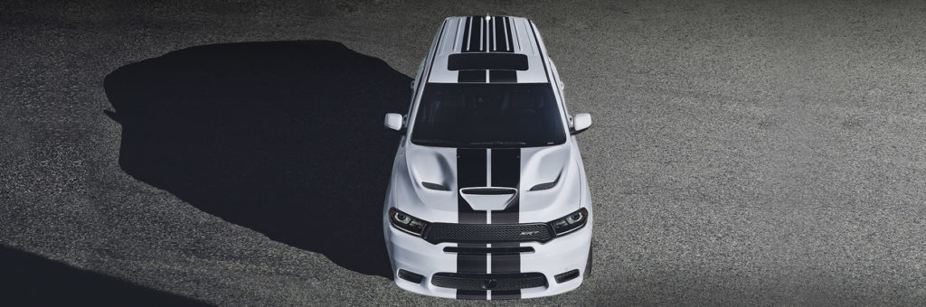 Dodge Durango SRT in White with Black racing stripes