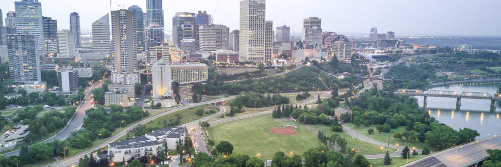 Skyline of Edmonton downtown with Saskatchewan river, Alberta, Canada