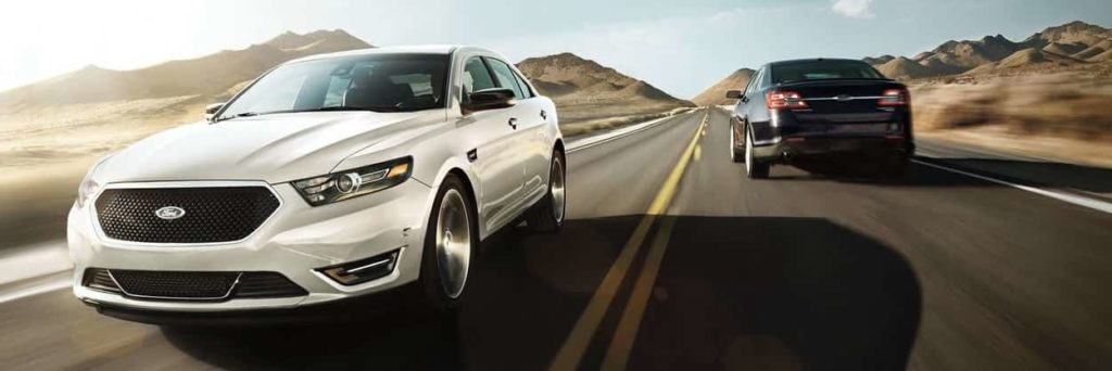 2019 Fod Taurus SHO in White Platinum Metallic Tri-coat and one in black driving in opposite directions on a sunlit road