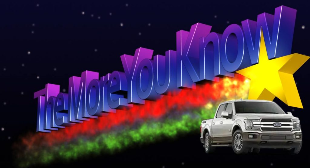 """The More You Know"" baner from NBC with an F-150 in the corner of the graphic"
