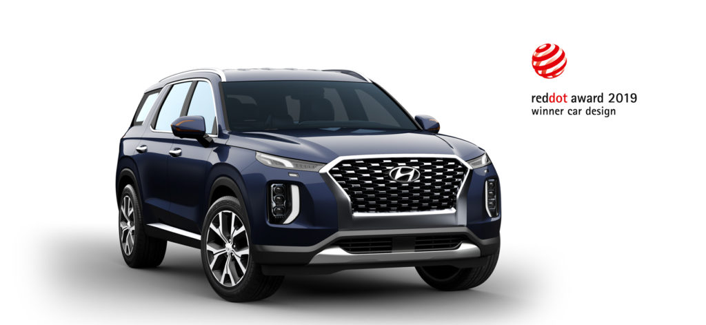 press release photo from Red Dot Design Awards, featuring logo and Hyundai Palisade