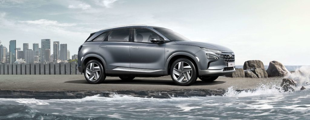 exterior shot of the hyundai nexo by the ocean