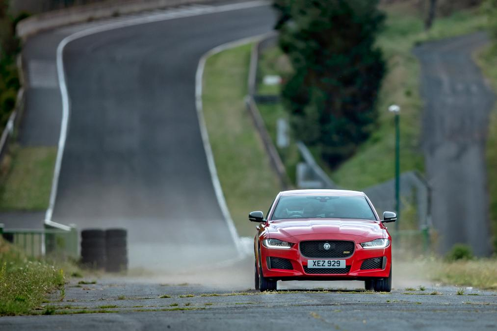 Lapping an abandoned F1 race track in a Jaguar XE