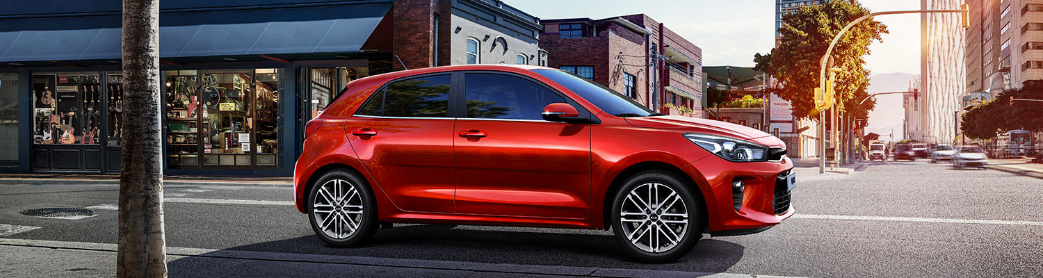 2018 Red Kia Rio Passeger Side View in Winnipeg