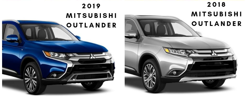 The 2018 and 2019 Mitsubishi Outlander on a white background