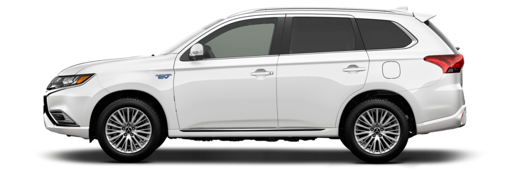 Side profile of a white 2019 Outlander PHEV