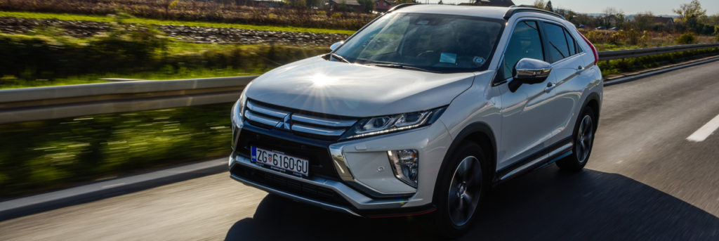 2018 Mitsubishi Eclipse Cross in white colour on the road.