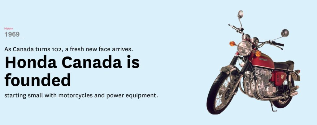 "Honda Motorcycle with the text ""Honda Canada is founded"""