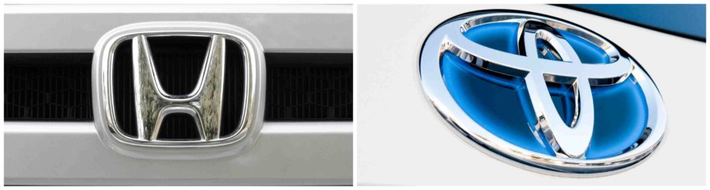 The Honda and Toyota grille logos pictured side-by-side for comparison