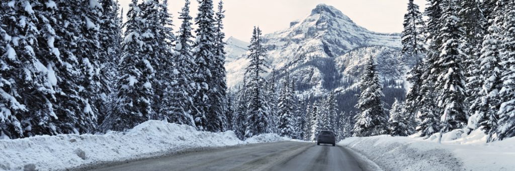 Winter road in the Canadian Rockies.