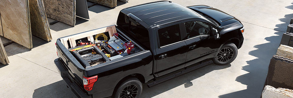 Top of the Nissan Titan with a packed cargo box