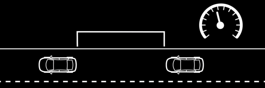 Distance between two vehicles, from top view, diagram-style picture