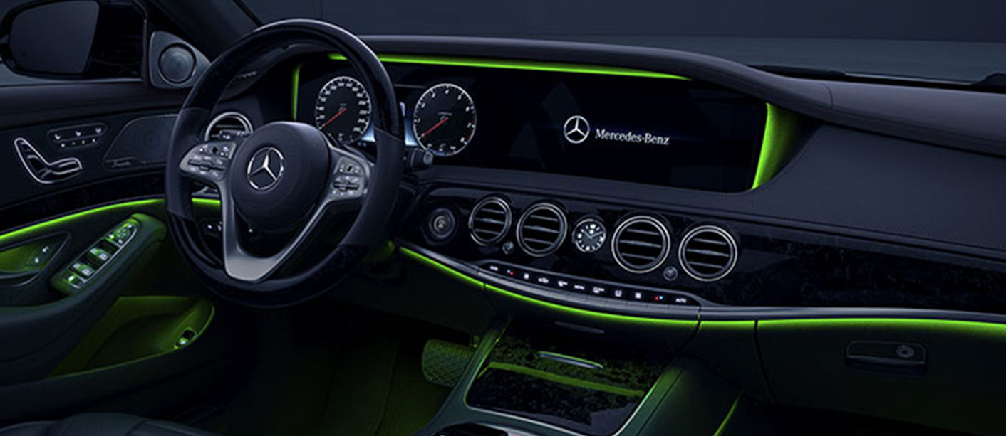 G Wagon Lease >> Mercedes-Benz-S-Class-Interior-with-green-Ambient-Lighting - Overseas Motors