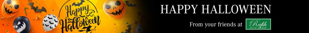 Thin slider with Halloween balloons and happy halloween with Rafih Auto Group logo