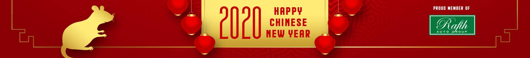 Happy Chinese New Year Banner- yellow and red banner