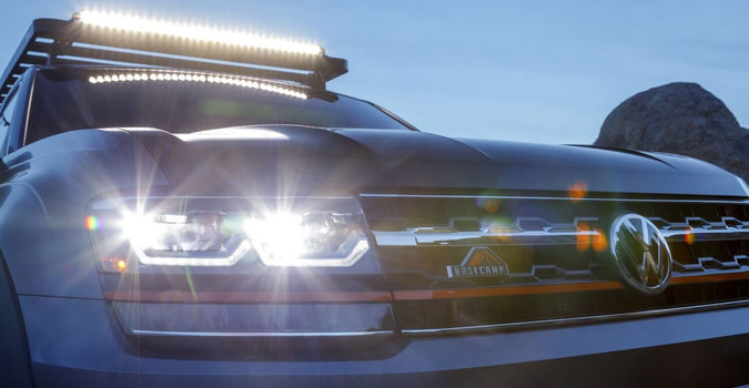 Front exterior view of the headlights on a Volkswagen vehicle