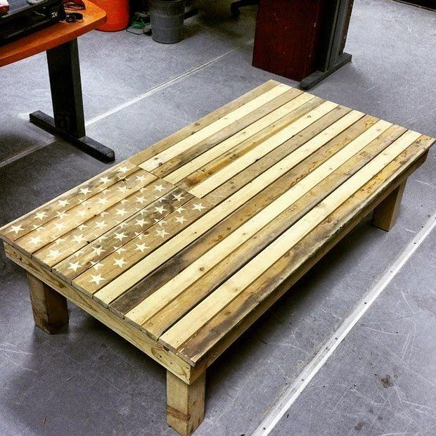 kitchen tables art van building islands american flag diy pallet coffee table | diyideacenter.com
