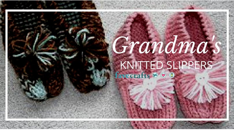 How to Knit Grandmas Knitted Slippers Free Knitting Pattern  FaveCraftscom