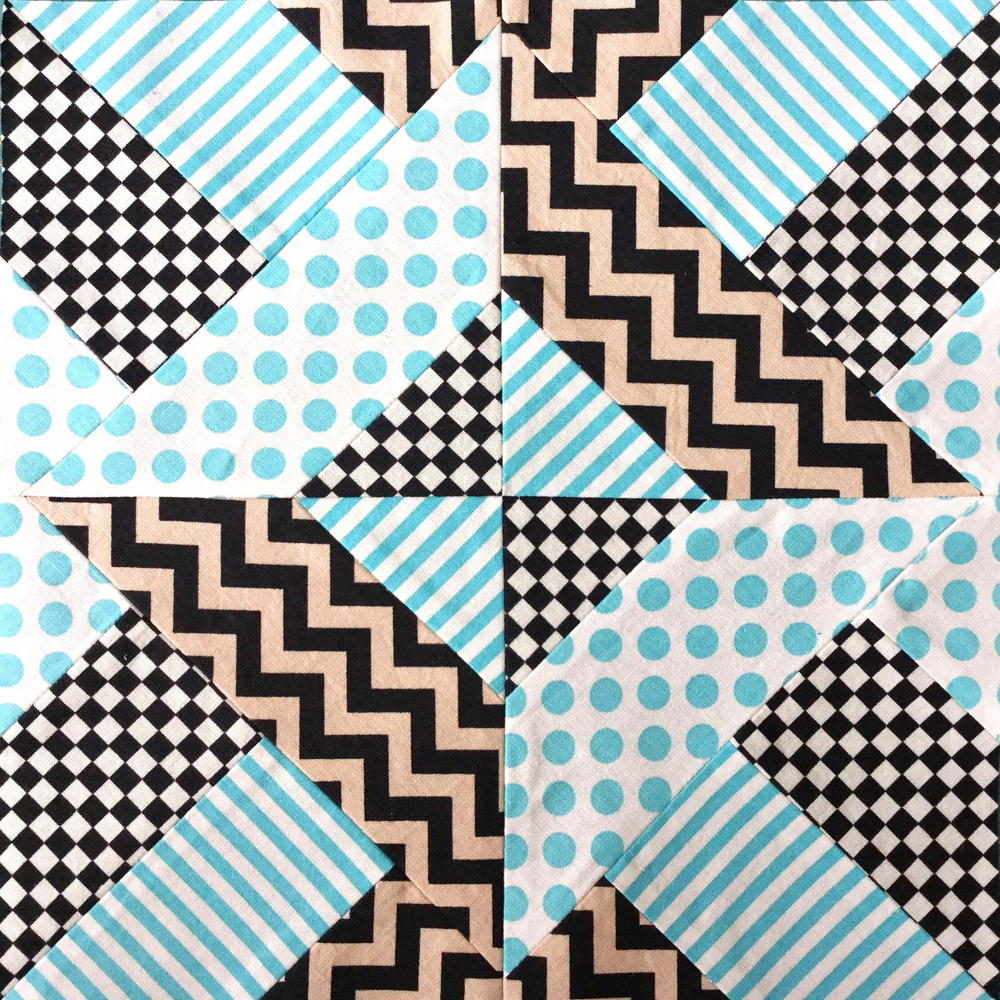 Doubly Striped Half Square Triangle Block  FaveQuiltscom