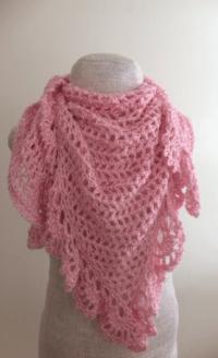 Pink Lace Crochet Triangle Shawl