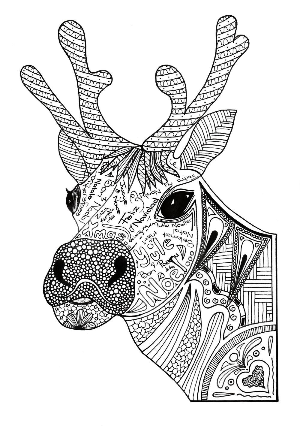 Christmas Reindeer Adult Coloring Page | FaveCrafts.com | christmas colouring pages for adults