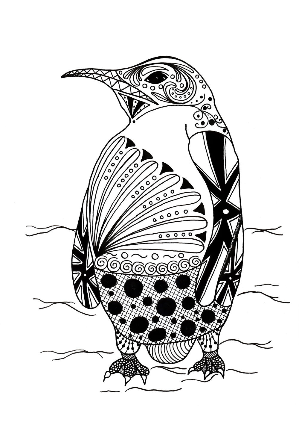 Intricate Penguin Adult Coloring Page | FaveCrafts.com | coloring pictures for adults animals